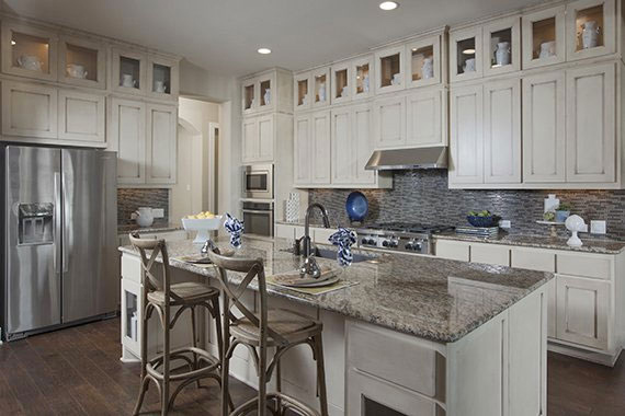 bone white kitchen with glaze by Burrows Cabinets