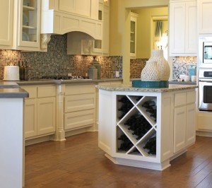 Burrows Cabinets Kitchen Island with Big X wine rack and Camley Door Style (C) 2014 Burrows Cabinets