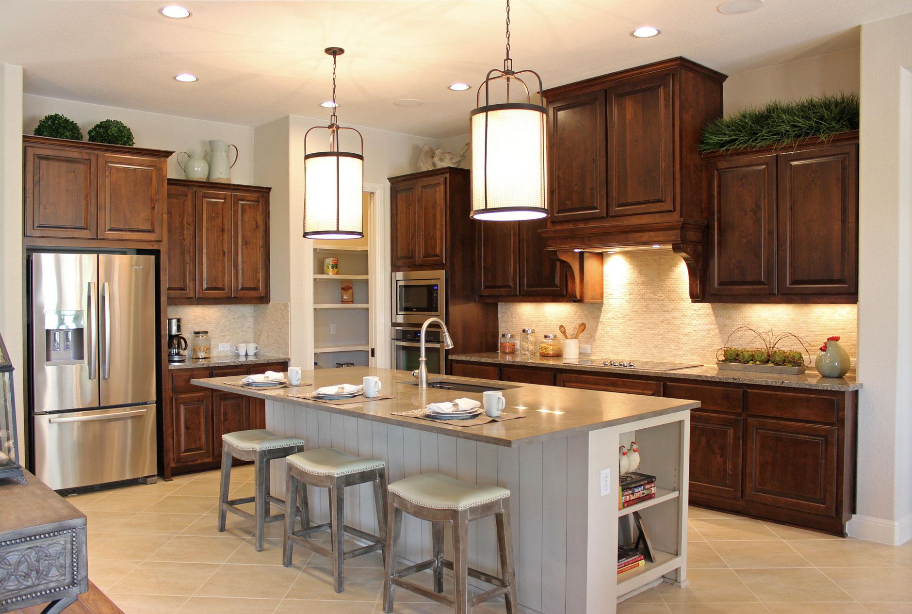 Burrows Cabinets Kitchen In Knotty Alder W Custom Vent Hood