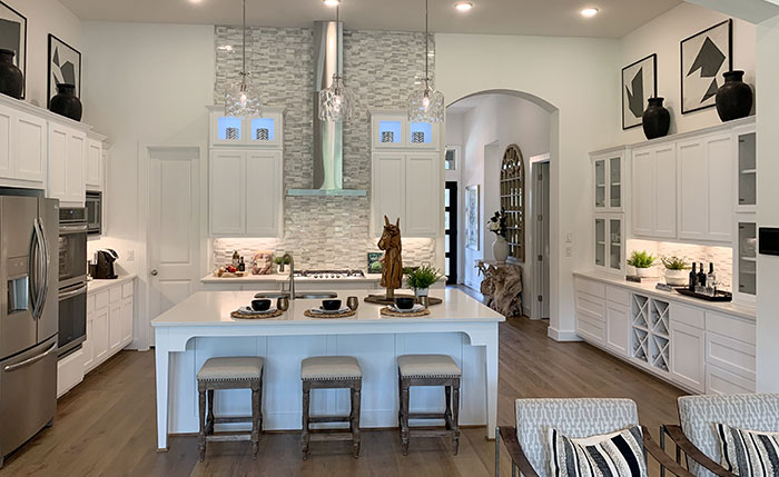 White cabinets, shaker doors in frost white with black accents