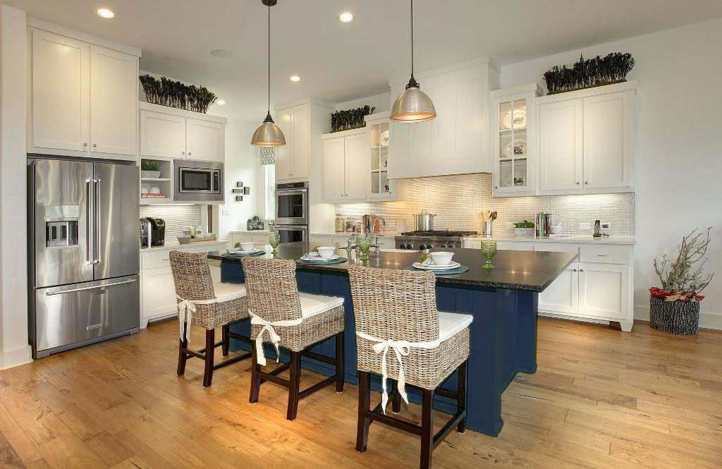 Burrows Cabinets kitchen with shaker doors in white and navy