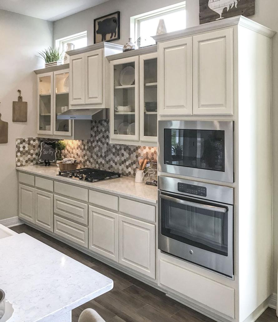 White kitchen travis door with glass door panels
