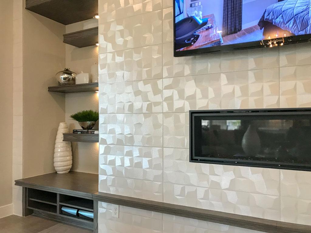 Modern living room built-in shelves and mantle in EVRGRN Rok