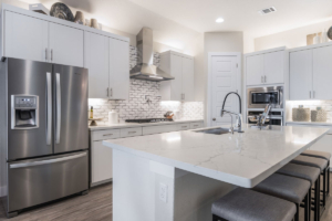 Burrows Cabinets EVRGRN kitchen cabinets in Luxe