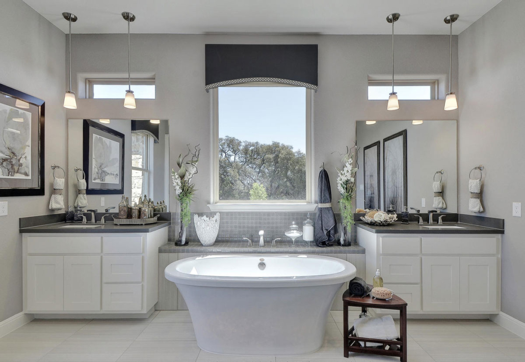 master bath bone white shaker with center tub
