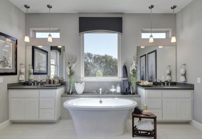 master bath bone white shaker with center tub