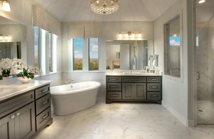 Burrows Cabinets' master bath with Kensington door in Umber