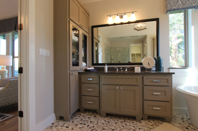 Burrows Cabinets' master bath with Terrazzo doors