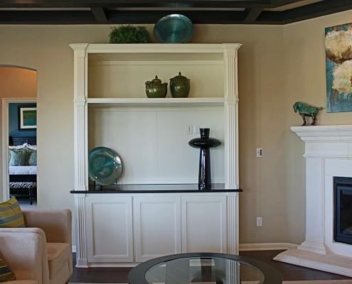 Burrows Cabinets' media center cabinets in Briscoe - Bone with open top shelf