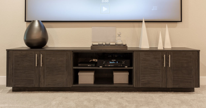 Media console in EVRGRN Vattern with 3 piece doors