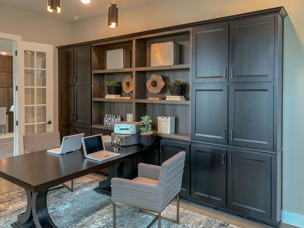 Office cabinet built-in cabinets and bookshelves by Burrows Cabinets in Beech Espresso with Briscoe doors