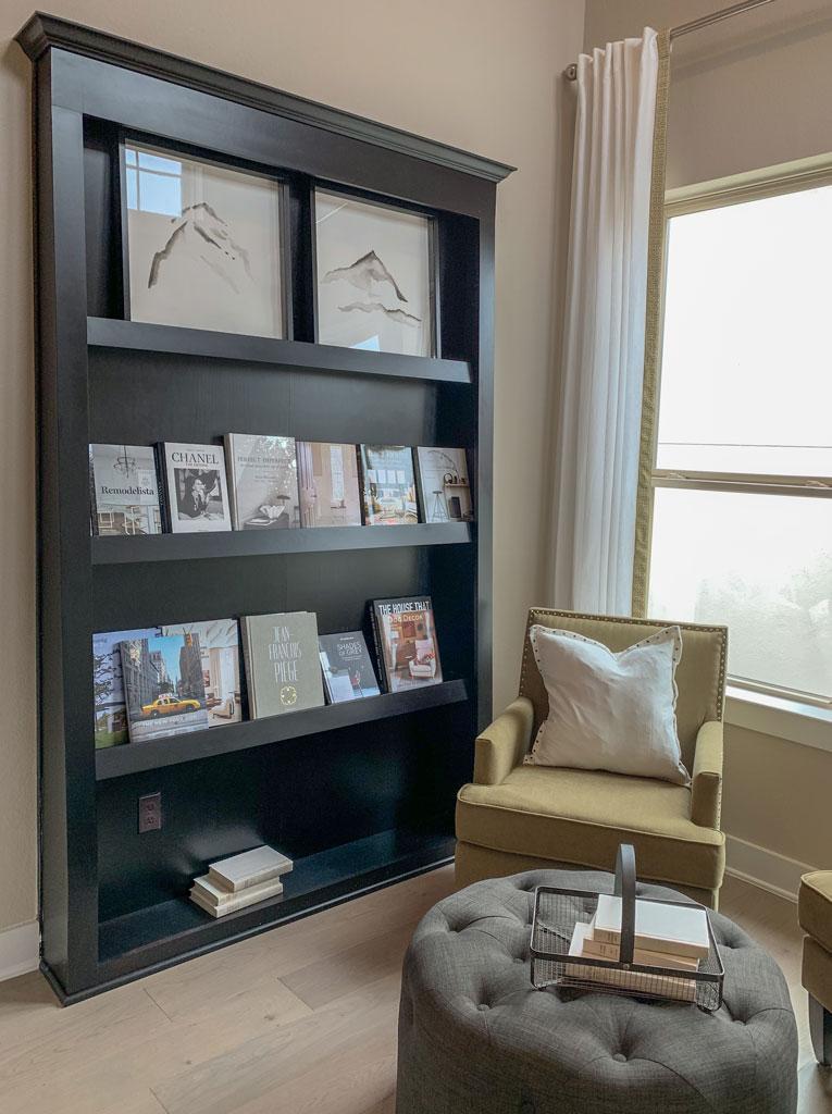 Reading nook bookshelf by Burrows Cabinets in Beech Espresso