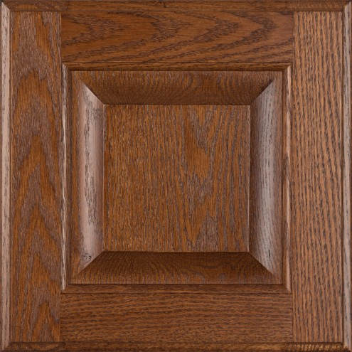 Burrows Cabinets' red oak raised panel door in Ambrose