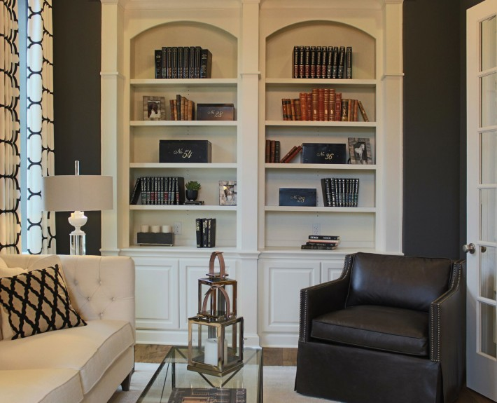 Burrows Cabinets' study with open bookshelves in bone white