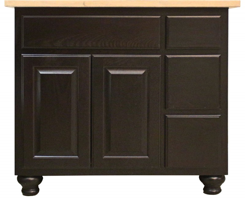 Burrows Cabinets' vanity with 3 drawer stack and bunn feet