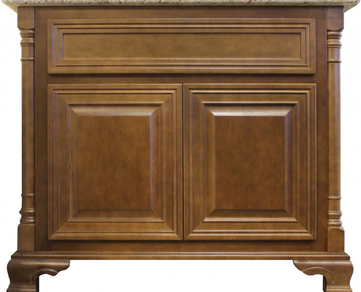 Burrows Cabinets vanity with decorative corners, decorative platform and kimrick feet