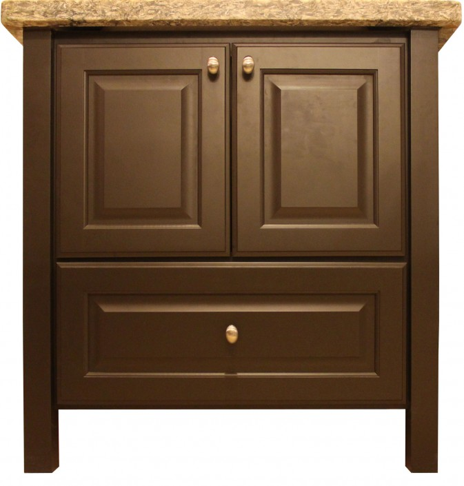 Burrows Cabinets' powder room vanity with square corner posts and bottom drawer