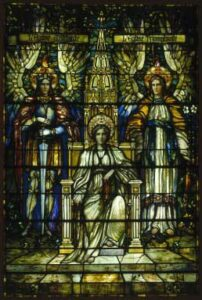 Religion Enthroned, stain glass windows
