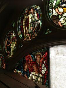 Installing restored Henry Holiday panel St. Luke's Hospital, NYC