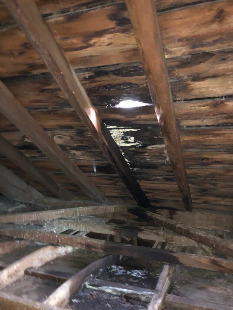 Hole in the roof underlayment