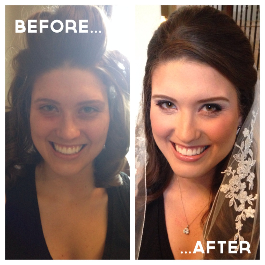Airbrush Makeup Before and After for bridal Makeup