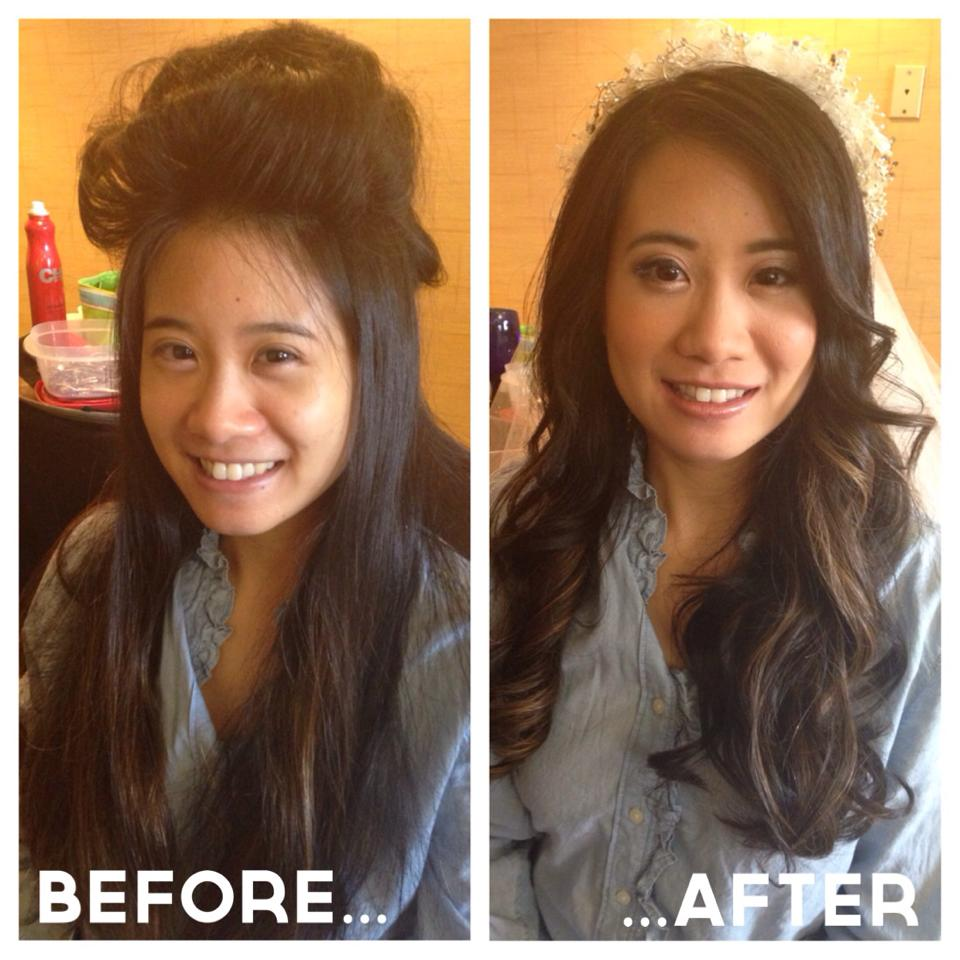 Asian brides, asian makeup ideas, asian bridal inspiration, dallas, fort worth, asian makeup artist, asian skintype, before and after, veil, long hair, hair down for wedding, wedding hairstyles, wedding makeup