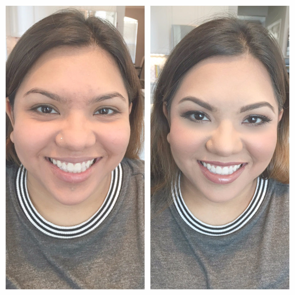 bridesmaid-before-and-after, hispanic skin, hispanic weddings, fort worth weddings, bridal party makeup, dark circle cover up, airbrush makeup, makeup looks, perfect skin, airbrush before and afters, should i choose airbrush for my wedding,