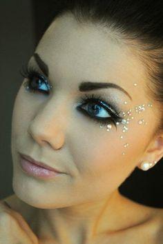 rhinestone makeup ideas, sparkle prom, prom 2016