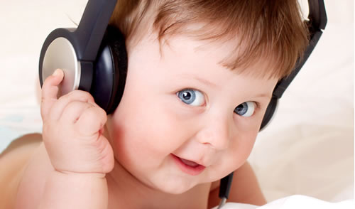 baby with headset