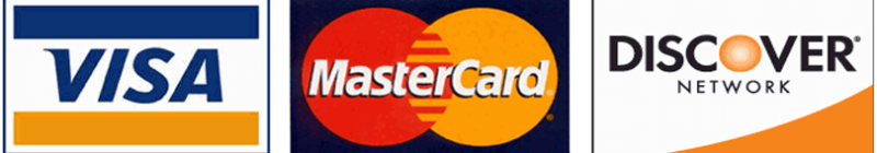 We Take Visa, MasterCard, Discover As Forms Of Credit Card Payments