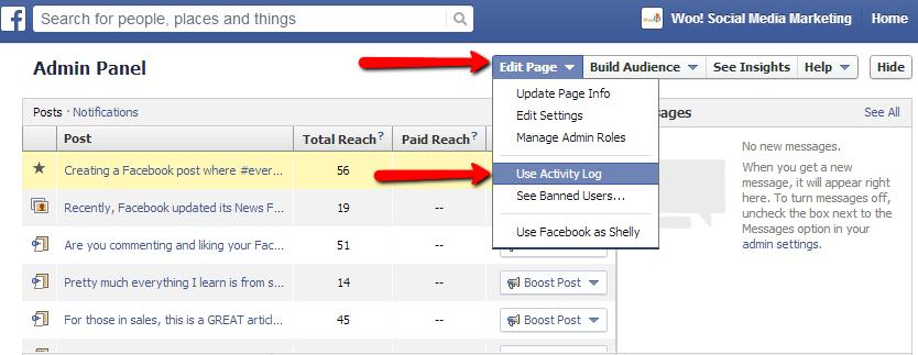 See scheduled Facebook posts