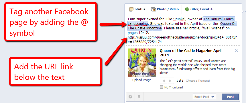 How to add a clean URL link on Facebook
