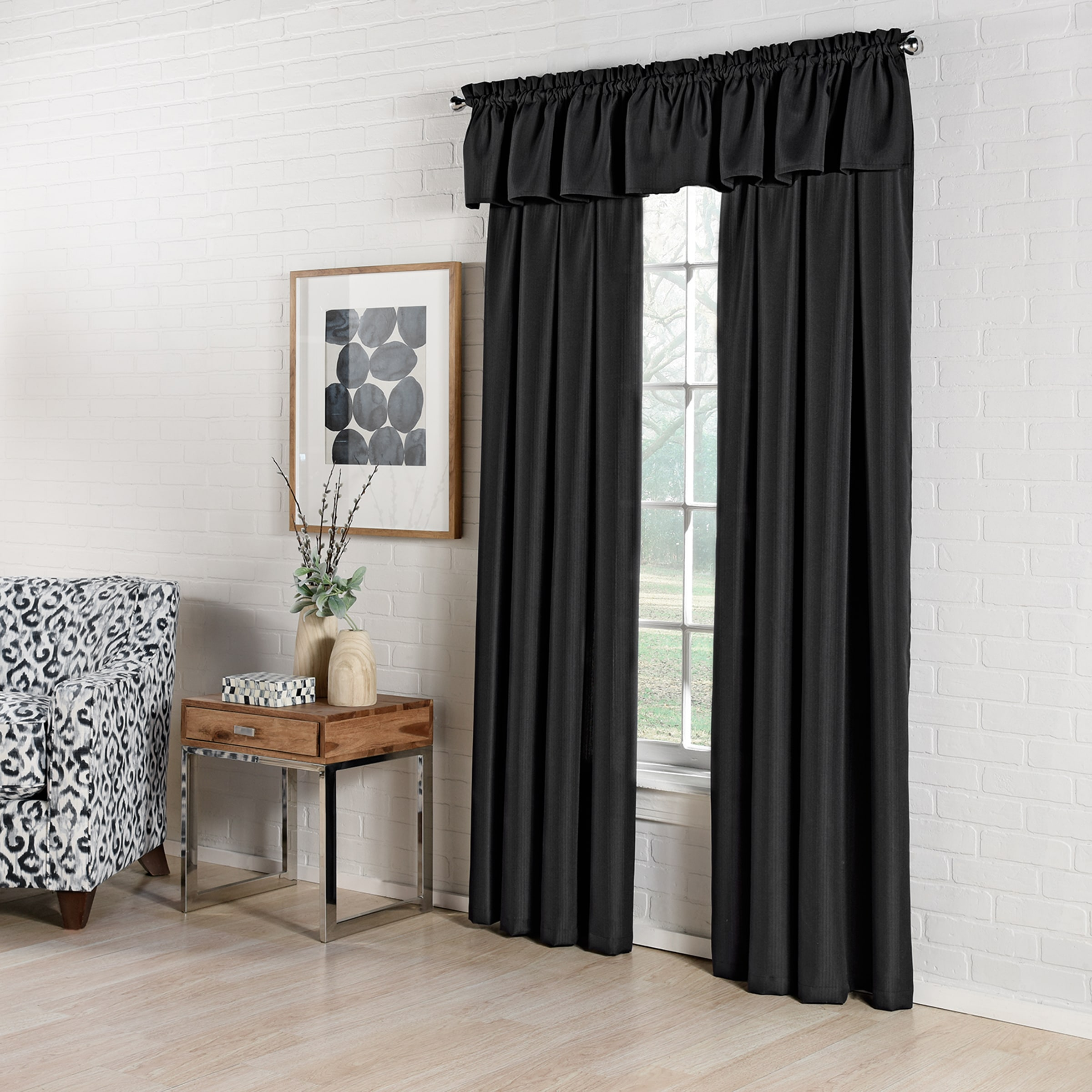 Ribcord Panel - Black- Featured with Valance