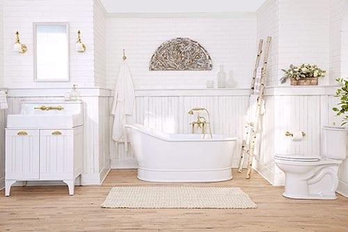 Modern bathroom with hardwood floor