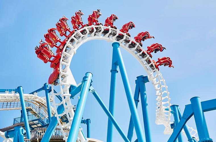 rollercoaster on boardwalk in Wildwood, NJ