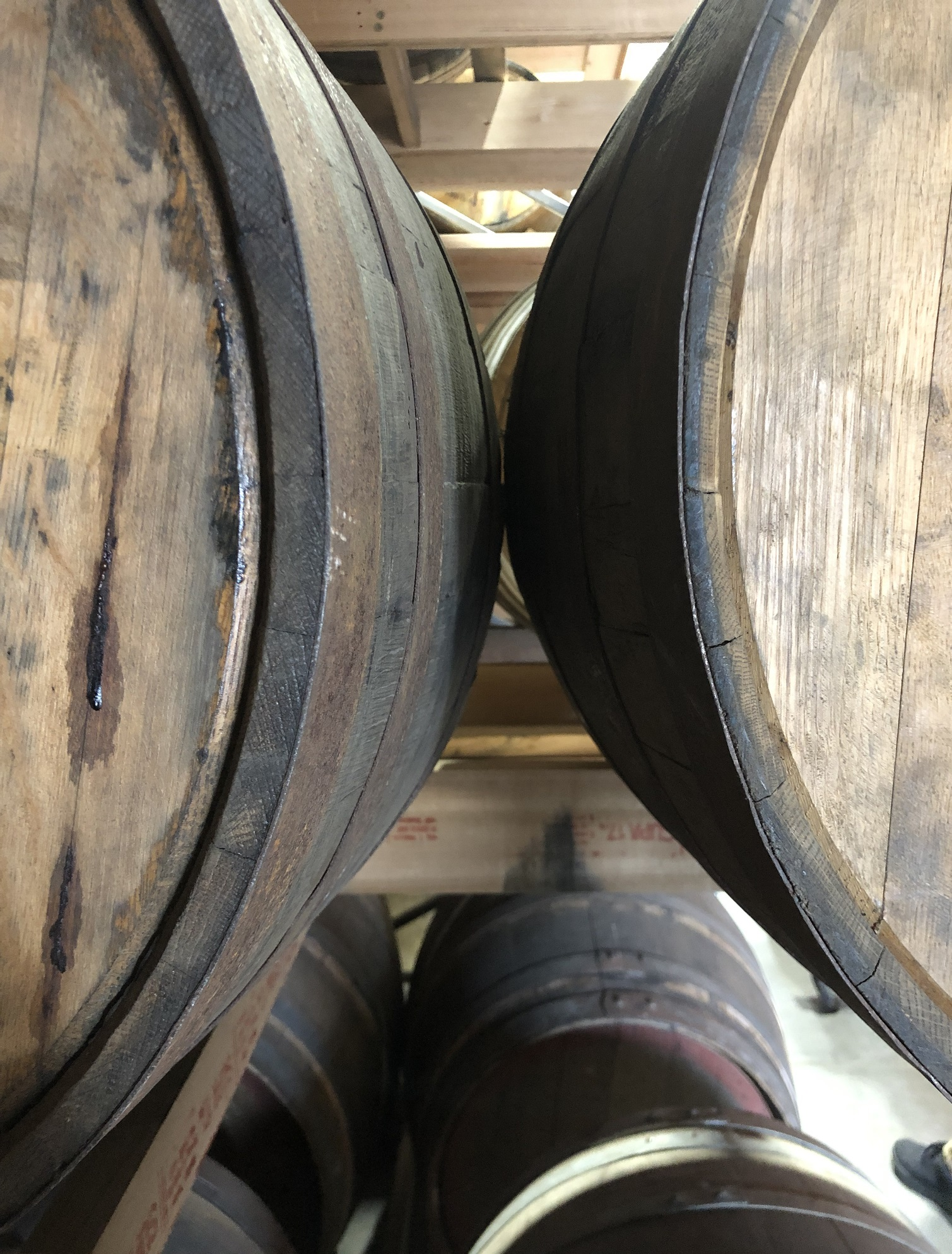 barrel racks in distillery