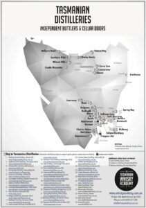 Map of Tasmanian distilleries