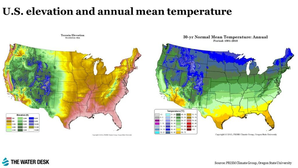 elevation and temperature map