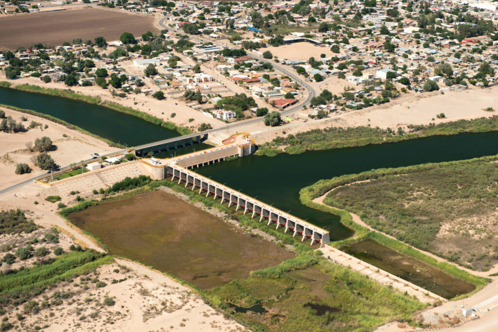 The Morelos Dam at the U.S.-Mexico border is the last major diversion of Colorado River water, channeling water for the city of Mexicali and agricultural users in Mexico. PHOTO BY TED WOOD