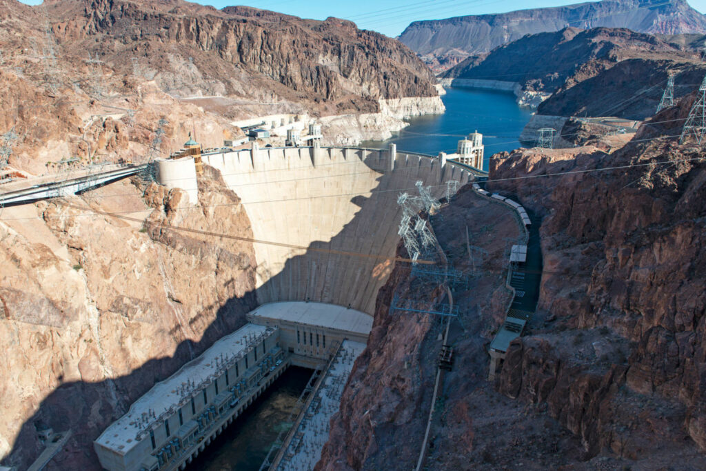 If water levels on Lake Mead drop another 32 feet, the Hoover Dam will stop generating electricity, cutting off power for millions of people in Southern California, Nevada, and Arizona. PHOTO BY TED WOOD
