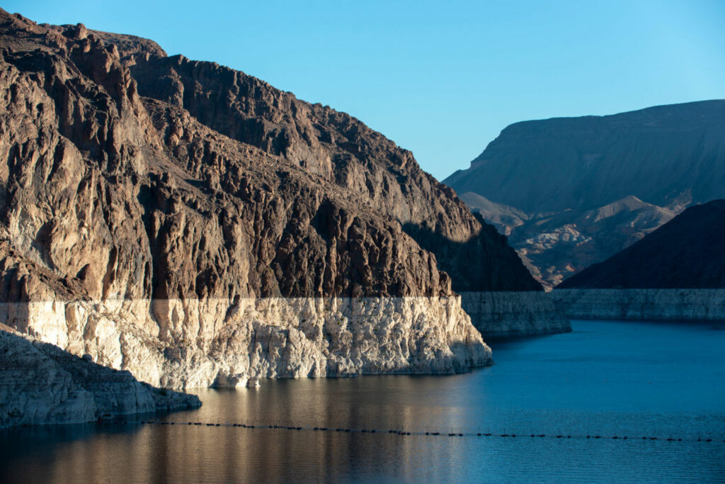A white ring around the 112-mile perimeter of Lake Mead shows how far water levels have dropped because of drought conditions that have persisted since 2000. PHOTO BY TED WOOD