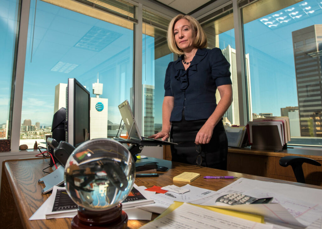 As Colorado River supplies dwindle, Kathryn Sorensen, director of Phoenix Water Services, is racing to find new ways to conserve and store water for the sprawling city of 1.6 million people. PHOTO BY TED WOOD