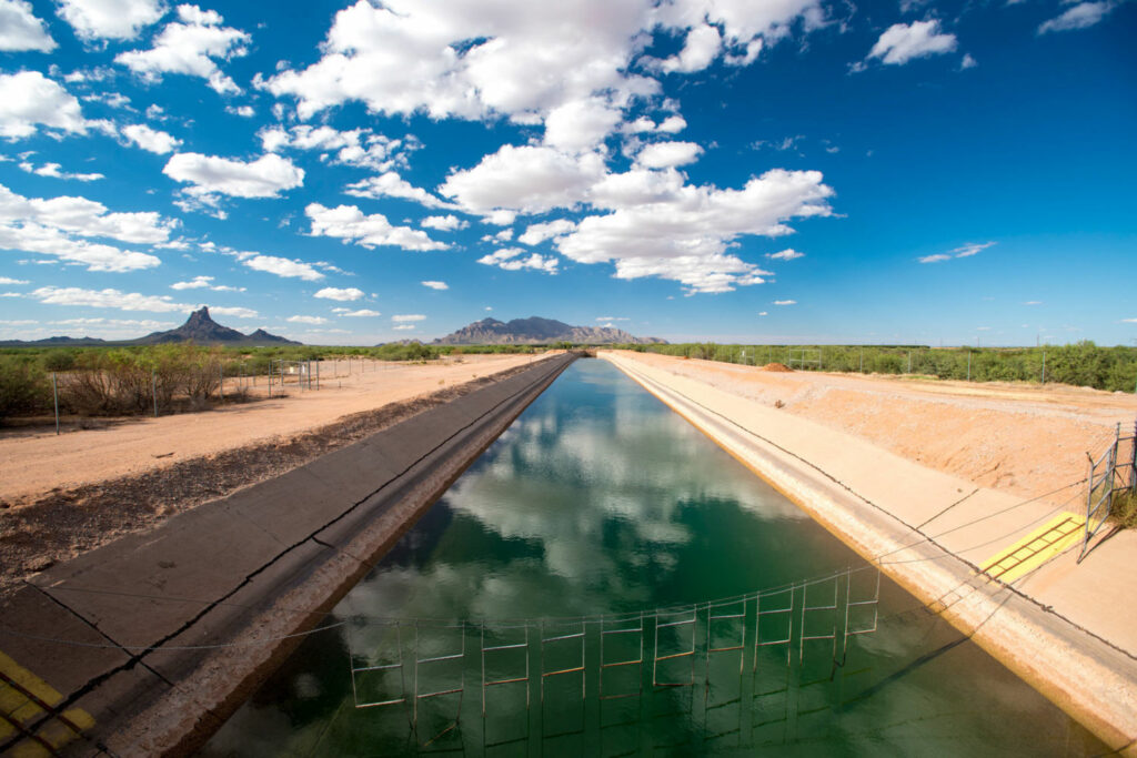Construction of the $4 billion Central Arizona Project began in 1973 and took two decades to complete. The canal stretches from Lake Havasu on the Colorado River to its terminus southwest of Tucson, serving about 80 percent of Arizona's population. PHOTO BY TED WOOD