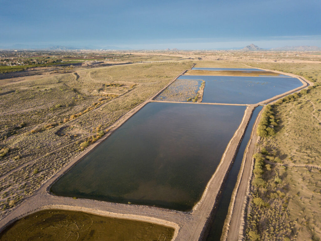 The Granite Reef Underground Storage Project, a water bank located on Salt River Pima-Maricopa Indian Community land, is a partnership between Phoenix and other regional municipalities. It funnels water from the Salt and Verde rivers and the Central Arizona Project into ponds, where it leaches into underground aquifers for later use. PHOTO BY TED WOOD