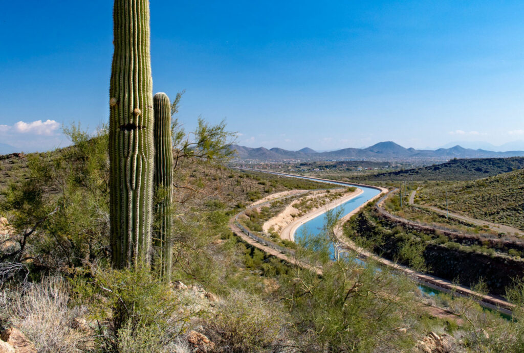 Cutting through the desert for most of its route, the Central Arizona Project canal loses approximately 16,000 acre-feet of water a year to evaporation, or about 1 percent of its annual flow. PHOTO BY TED WOOD