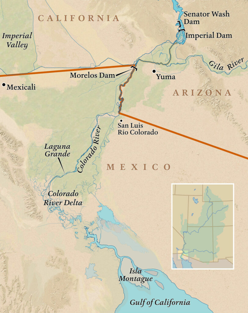 Downstream from the Morelos Dam, the Colorado River delta now runs dry before reaching the Gulf of California. MAP BY DAVID LINDROTH