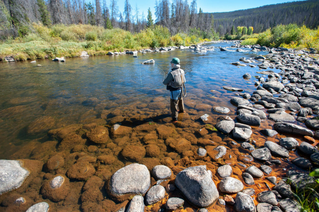 A fisherman on the upper Colorado River in northern Colorado. Low water flows have endangered fish populations and led last year to the closing of parts of the river and its tributaries to fishing and other recreation. PHOTO BY TED WOOD