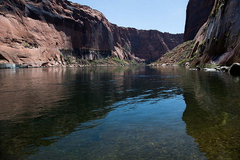 Looking downstream at the Colorado River from Glen Canyon Dam tailrace. Source: Bureau of Reclamation