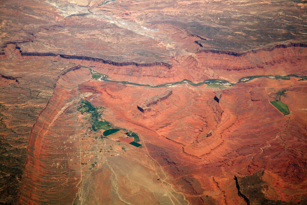 From the air, the Colorado River is seen running north of Castle Valley, Utah. Doc Searls/CC via Flickr