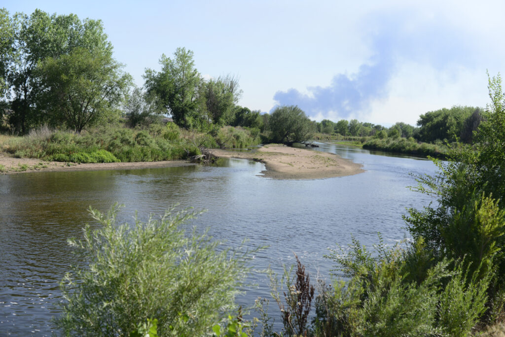 The South Platte River runs near a farm in Henderson, Colorado, northeast of Denver.